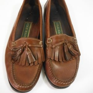 Mens Cole Haan Leather Loafer Shoes With Tassels